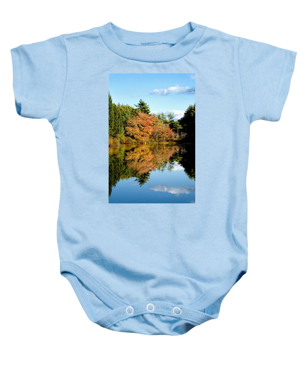 Foliage Baby Onesie featuring the photograph Fall Reflections by Greg Fortier