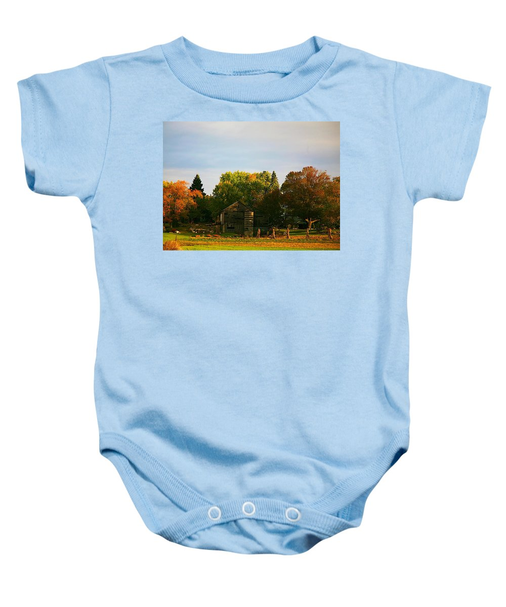 Farm Baby Onesie featuring the photograph Fall Time On The Farm by Robert Pearson