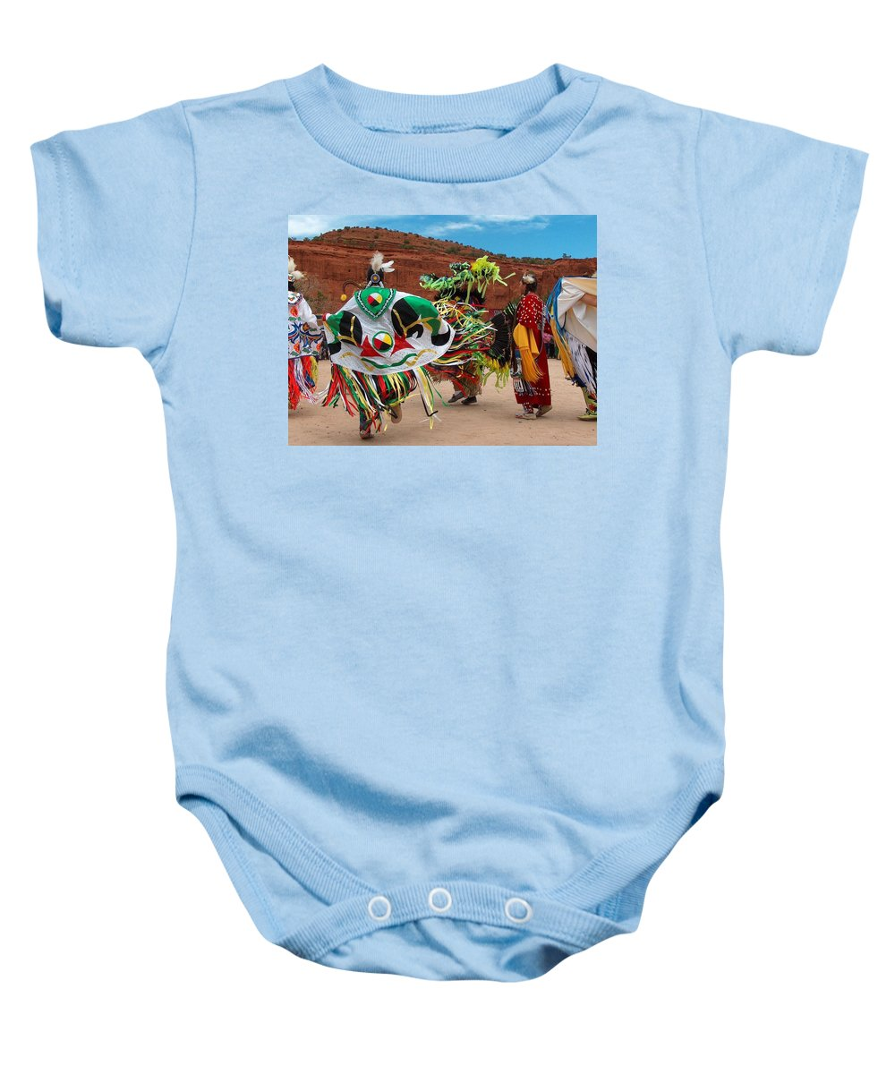 Fancy Shawl Dancer Baby Onesie featuring the photograph Fancy Shawl Dancer At Star Feather Pow-wow by Tim McCarthy