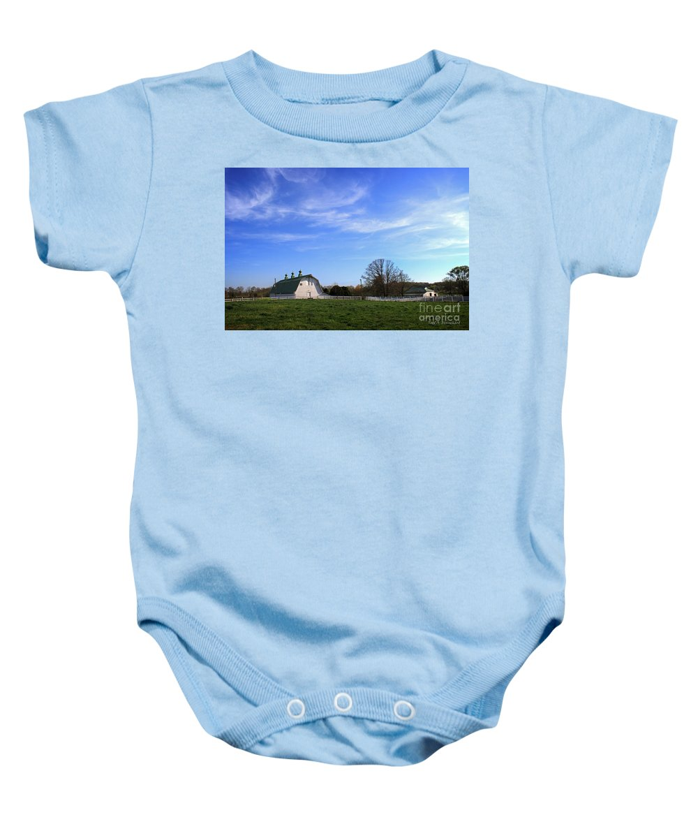 Landscape Baby Onesie featuring the photograph Farm At Sunset by Todd Blanchard