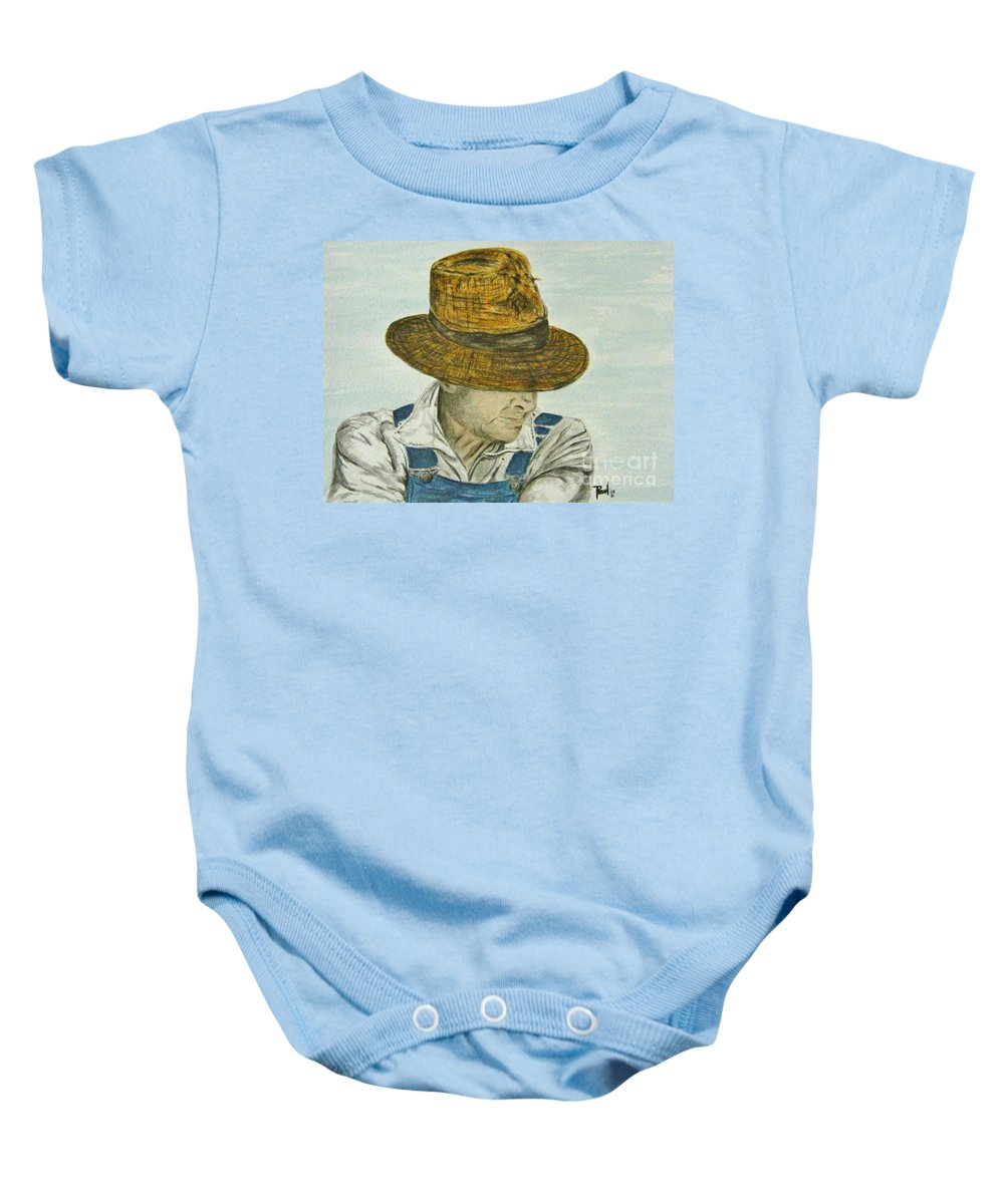 Portrait Baby Onesie featuring the painting Farmer Ted by Regan J Smith