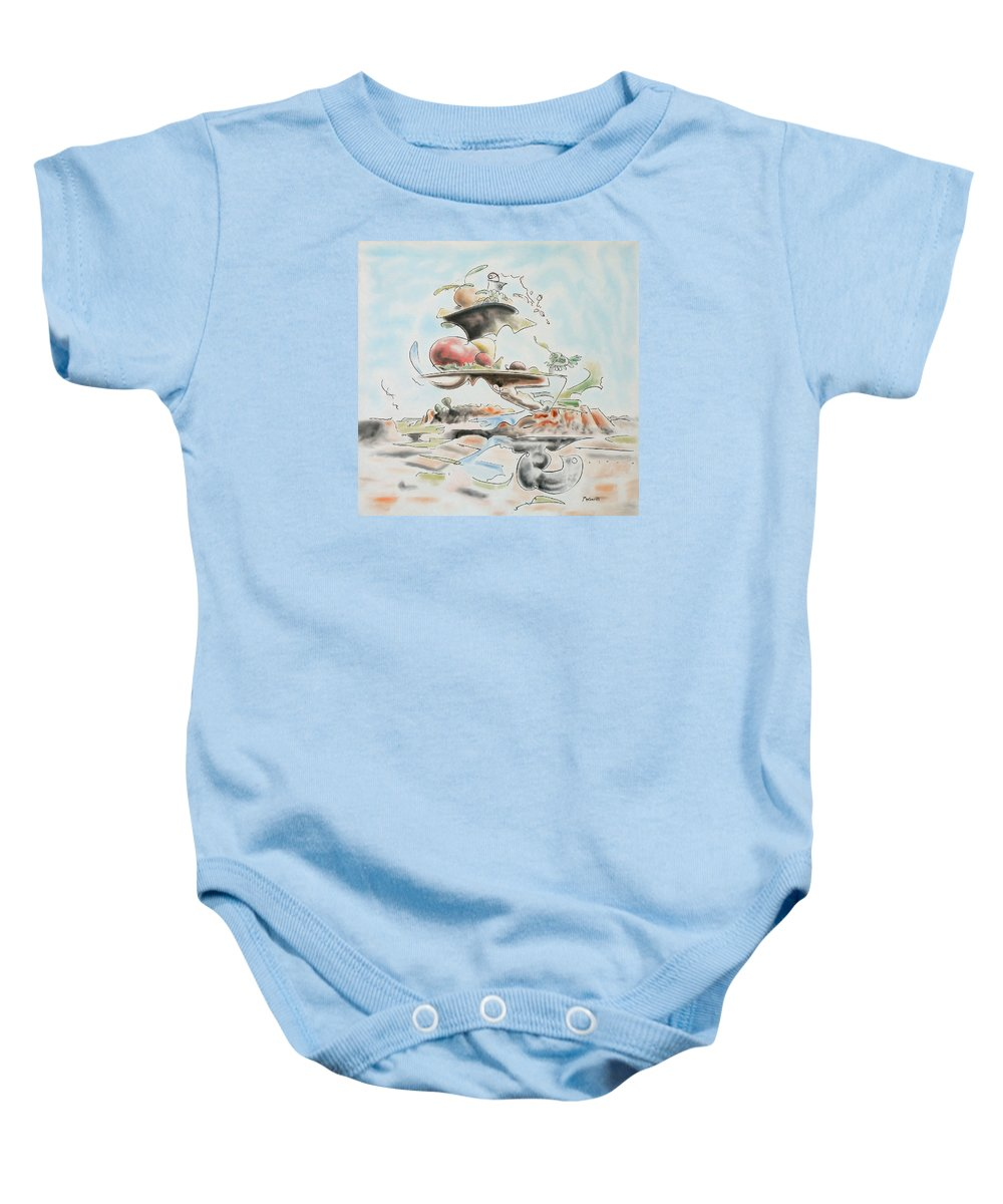 Abstract Baby Onesie featuring the painting Fast Food by Dave Martsolf