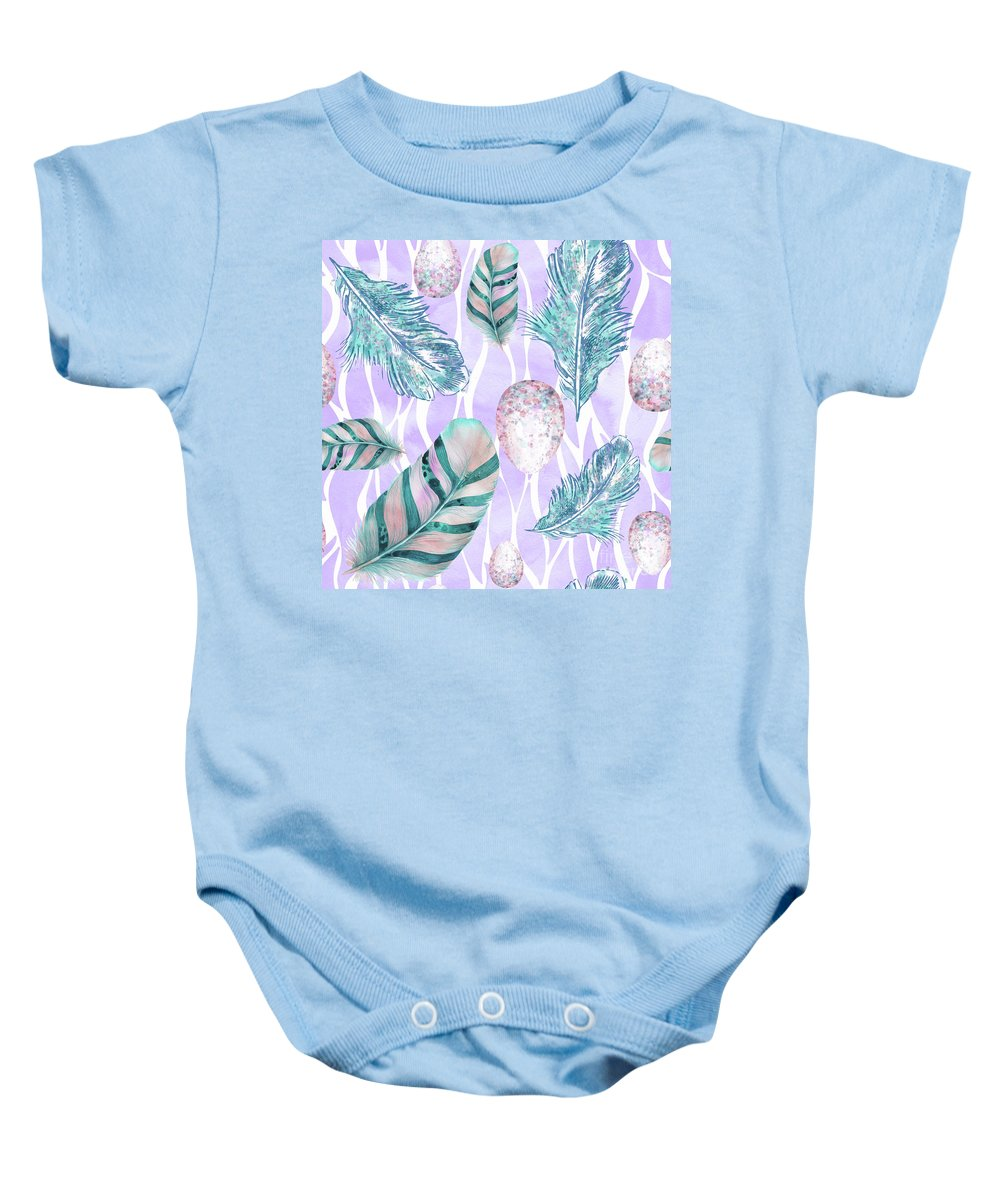 Feathers Baby Onesie featuring the painting Feathers And Spotted Bird Eggs Woodland Nature Pattern by Tina Lavoie