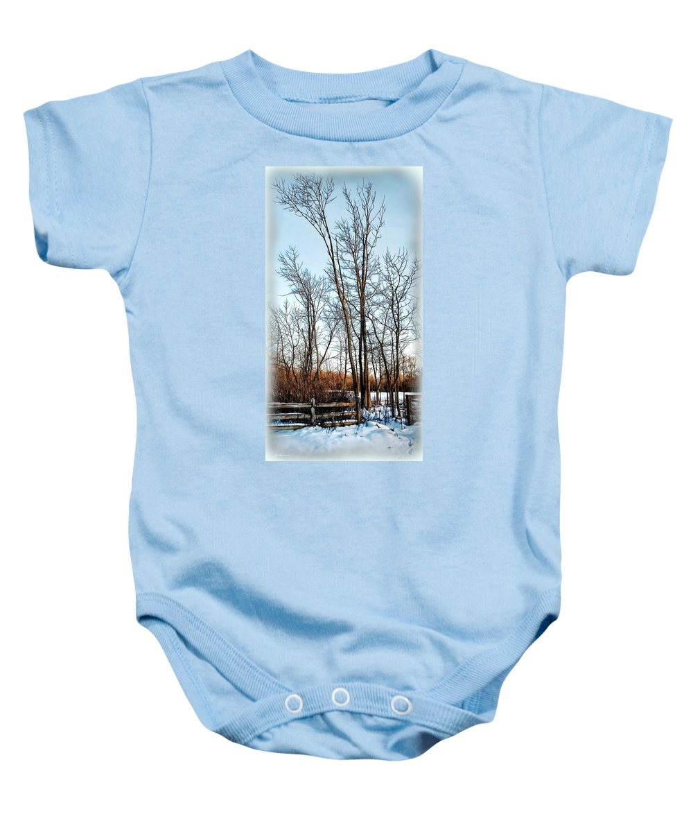 Winter Baby Onesie featuring the digital art Fenced In Landscape by Joan Minchak