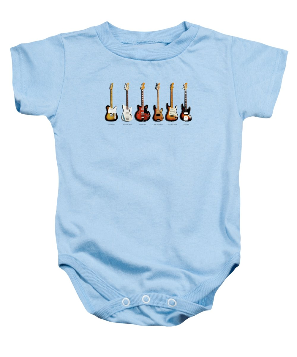 Fender Stratocaster Baby Onesie featuring the photograph Fender Guitar Collection by Mark Rogan