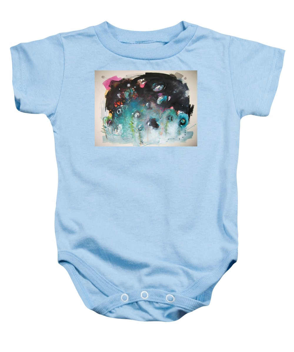 Fiddleheads Paintings Baby Onesie featuring the painting Fiddleheads- Original Abstract Colorful Landscape Painting For Sale Red Blue Green by Seon-Jeong Kim