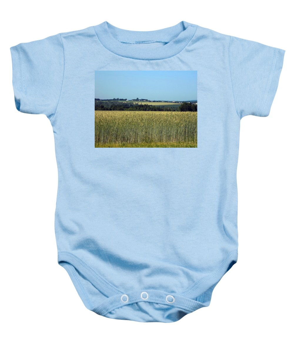 Landscape Baby Onesie featuring the photograph Field Of Wheat by William Tasker