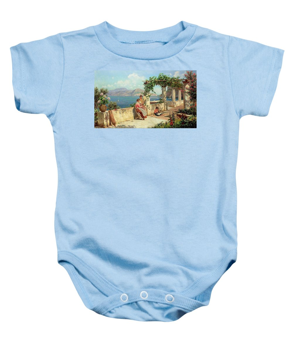 Alott Baby Onesie featuring the painting Figures On A Terrace In Capri by Robert
