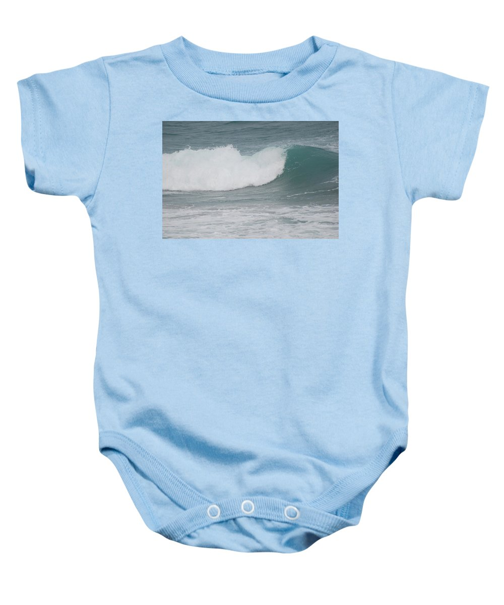 Green Baby Onesie featuring the photograph Fin Wave by Rob Hans