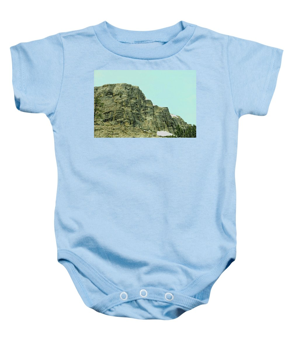 Donner Baby Onesie featuring the photograph Find The Climbers by Donna Blackhall