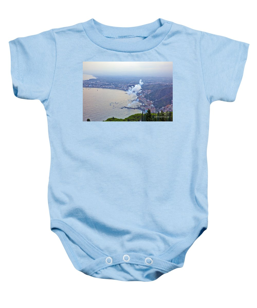 Baby Onesie featuring the photograph Fireworks Over Sicily by Madeline Ellis