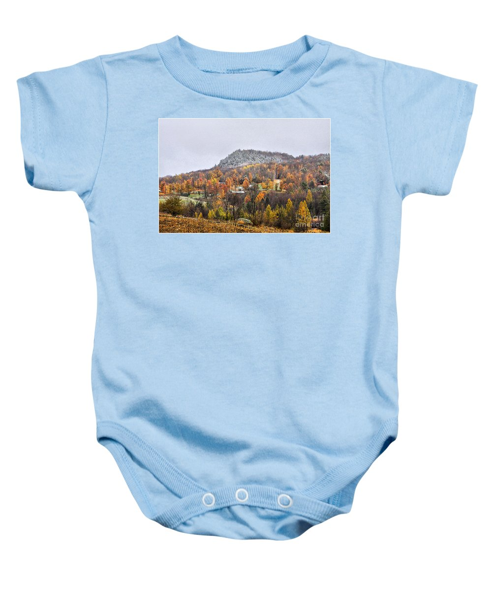 Fall Baby Onesie featuring the photograph First Dusting by Deborah Benoit