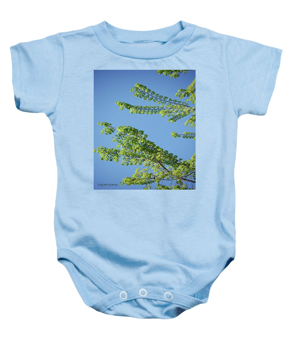 Tree Baby Onesie featuring the digital art First Sign Of Spring I by DigiArt Diaries by Vicky B Fuller