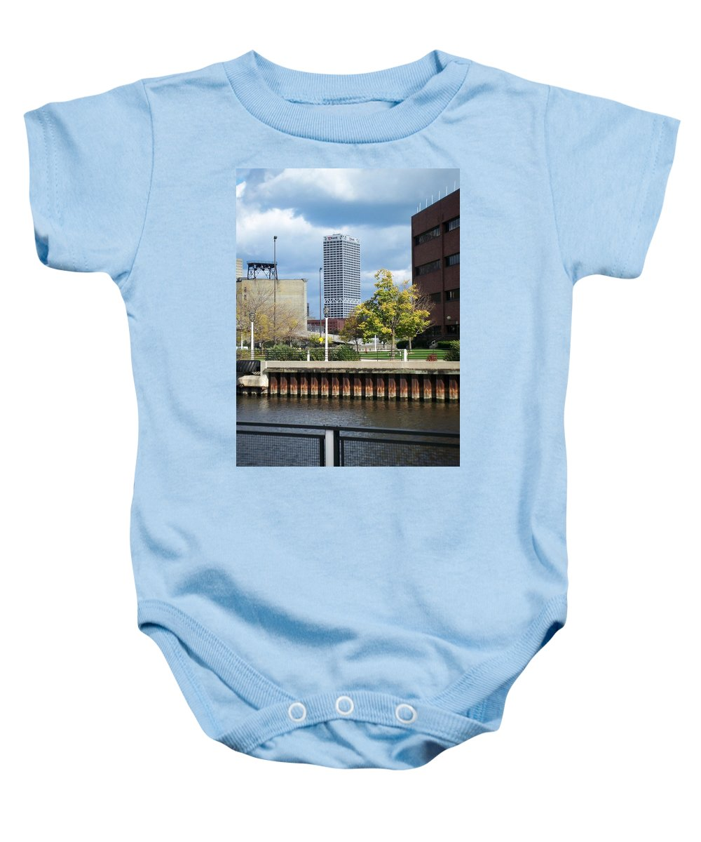 First Star Bank Baby Onesie featuring the photograph First Star tall view from river by Anita Burgermeister