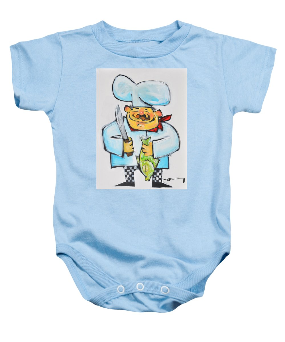 Chef Baby Onesie featuring the painting Fish Chef by Tim Nyberg