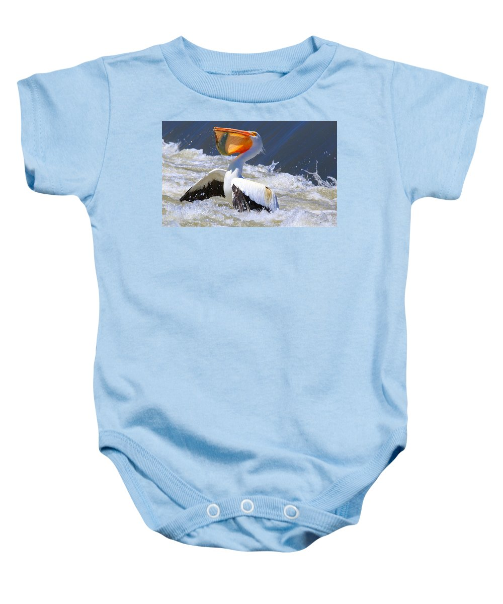 Fish For Dinner Baby Onesie featuring the photograph Fish For Dinner by Lynn Hopwood