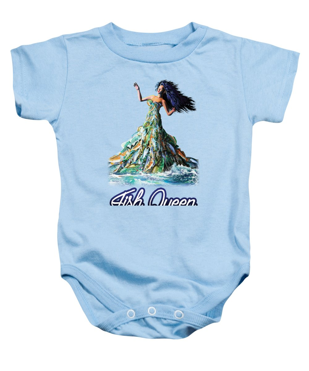 School Baby Onesie featuring the painting Fish Queen by Anthony Mwangi