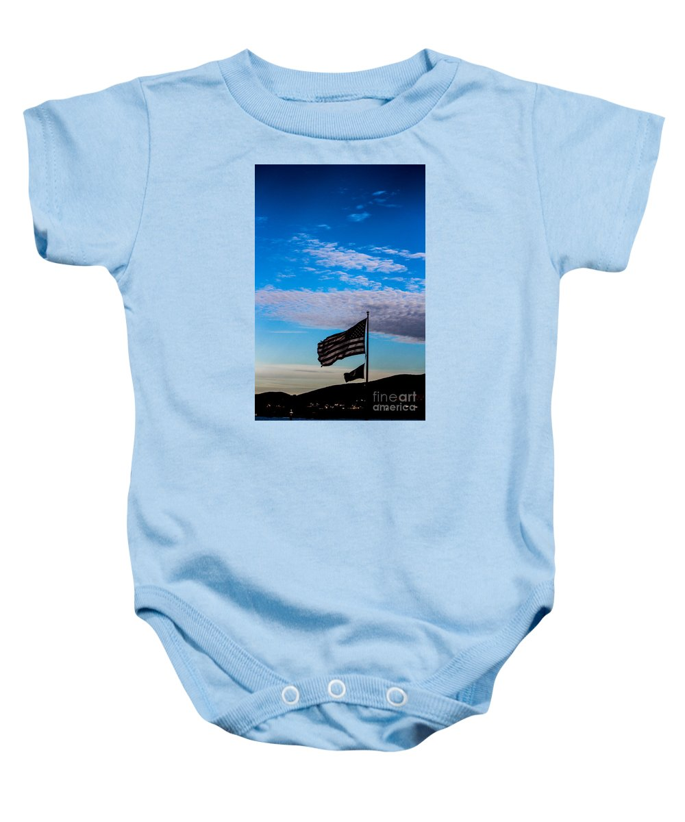 American Flag Baby Onesie featuring the photograph Flag With The Clouds by Victory Designs