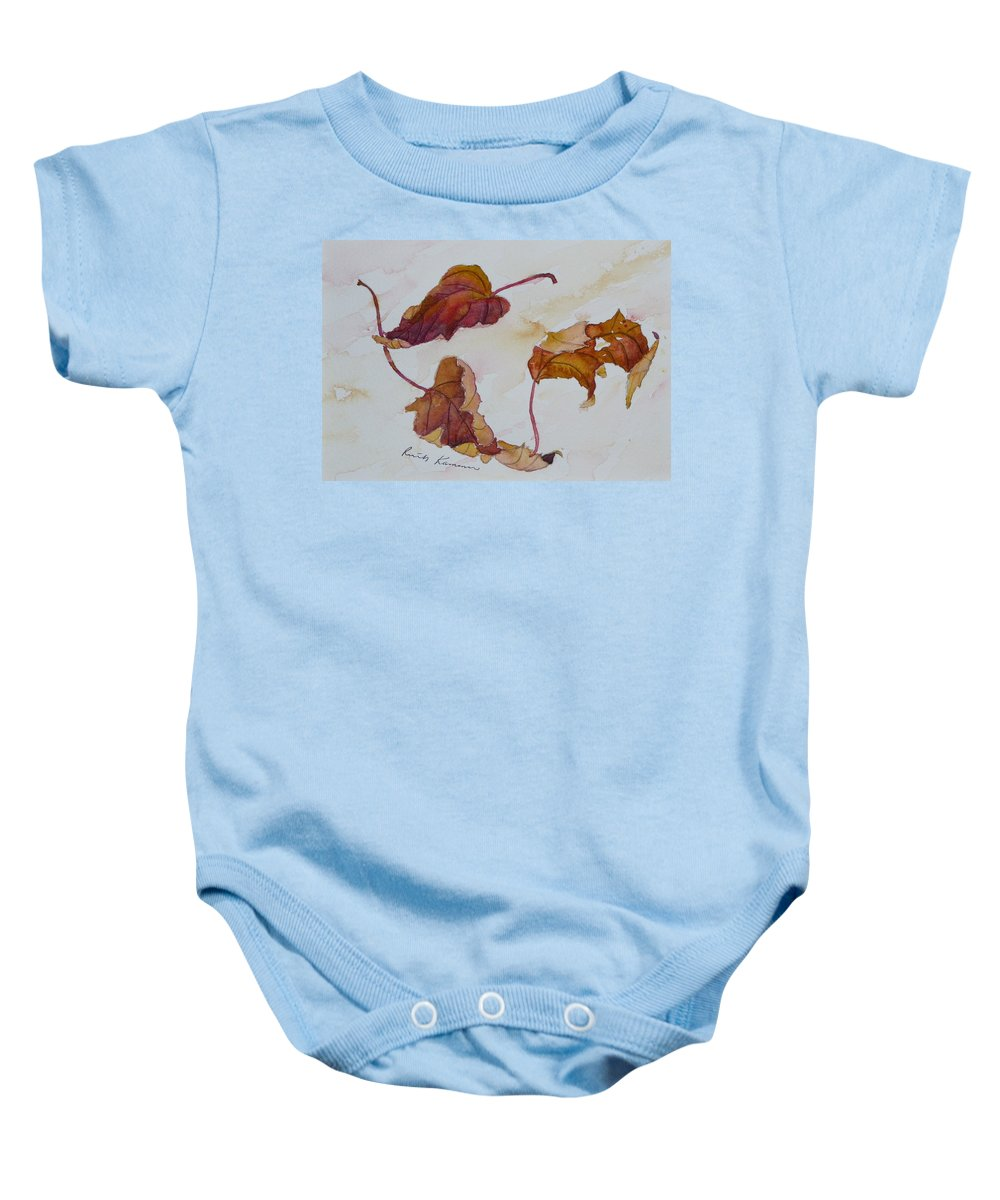 Fall Baby Onesie featuring the painting Floating by Ruth Kamenev