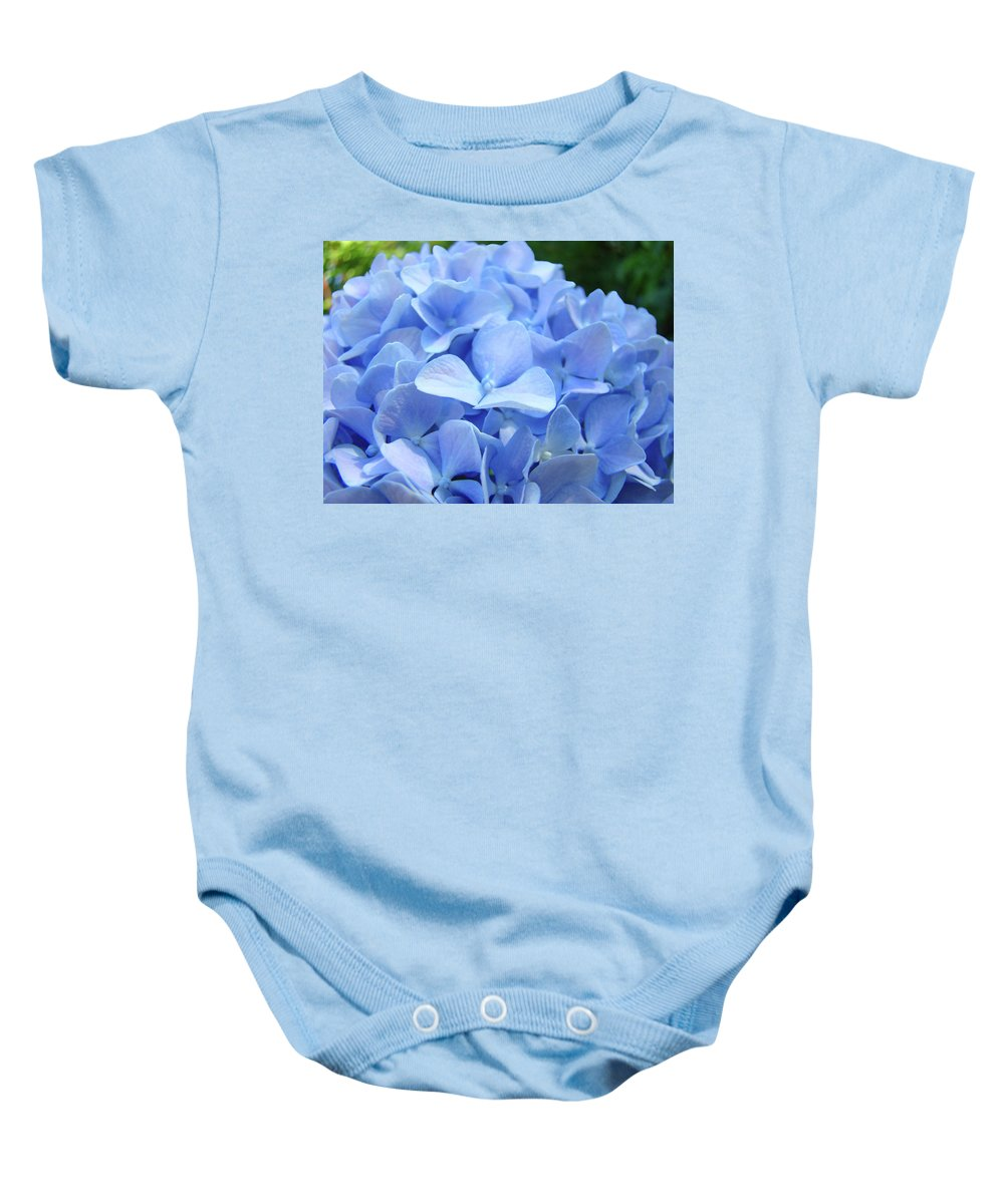 Hydrangea Baby Onesie featuring the photograph Floral Artwork Blue Hydrangea Flowers Baslee Troutman by Baslee Troutman