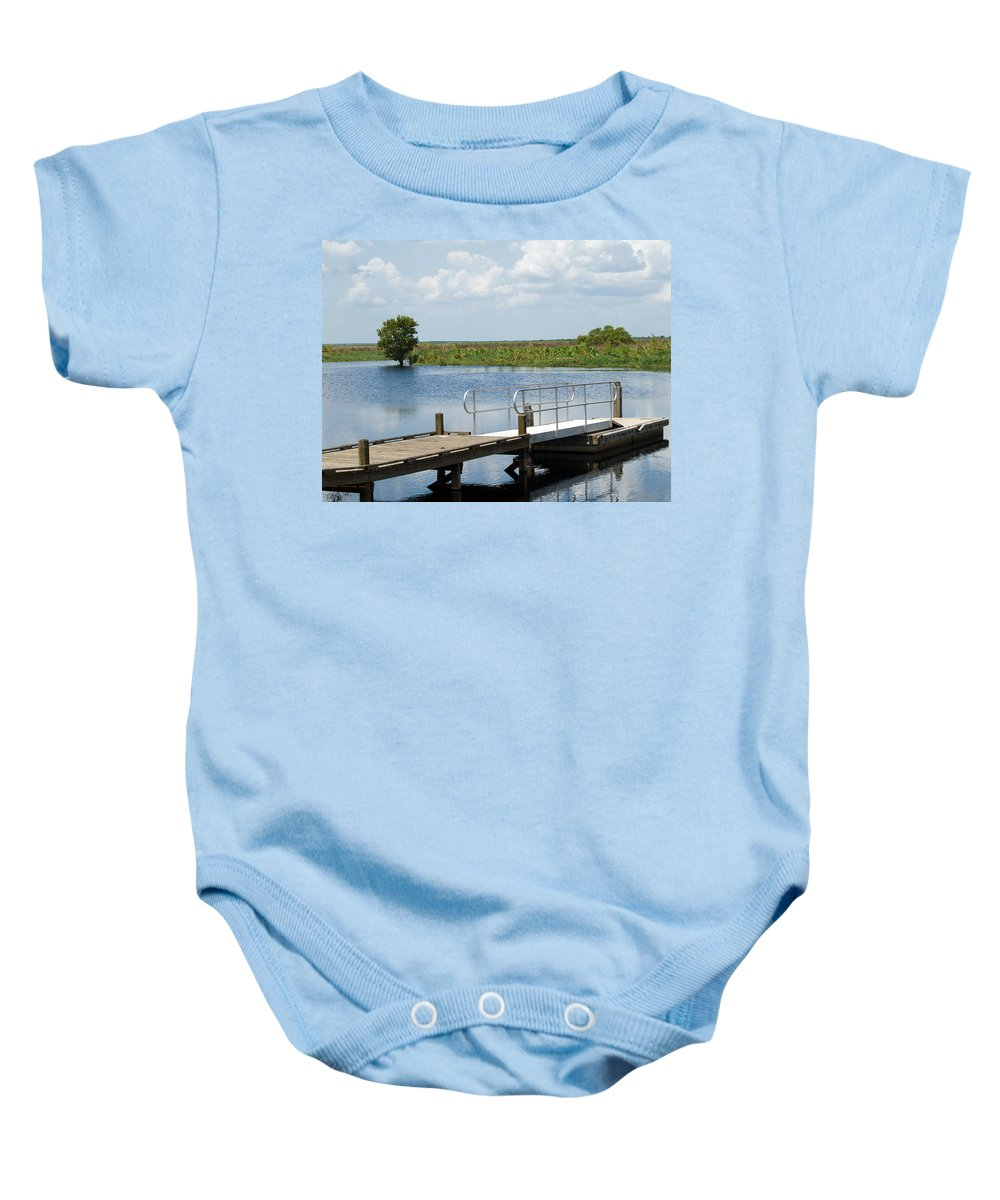 Florida; River; St; Johns; Saint; John; Flow; Flows; North; South;direction; Flowing; Current; Backw Baby Onesie featuring the photograph Florida Backwater by Allan Hughes