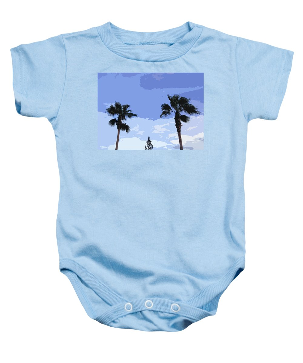Florida Baby Onesie featuring the photograph Florida Queen Palms  by Allan Hughes