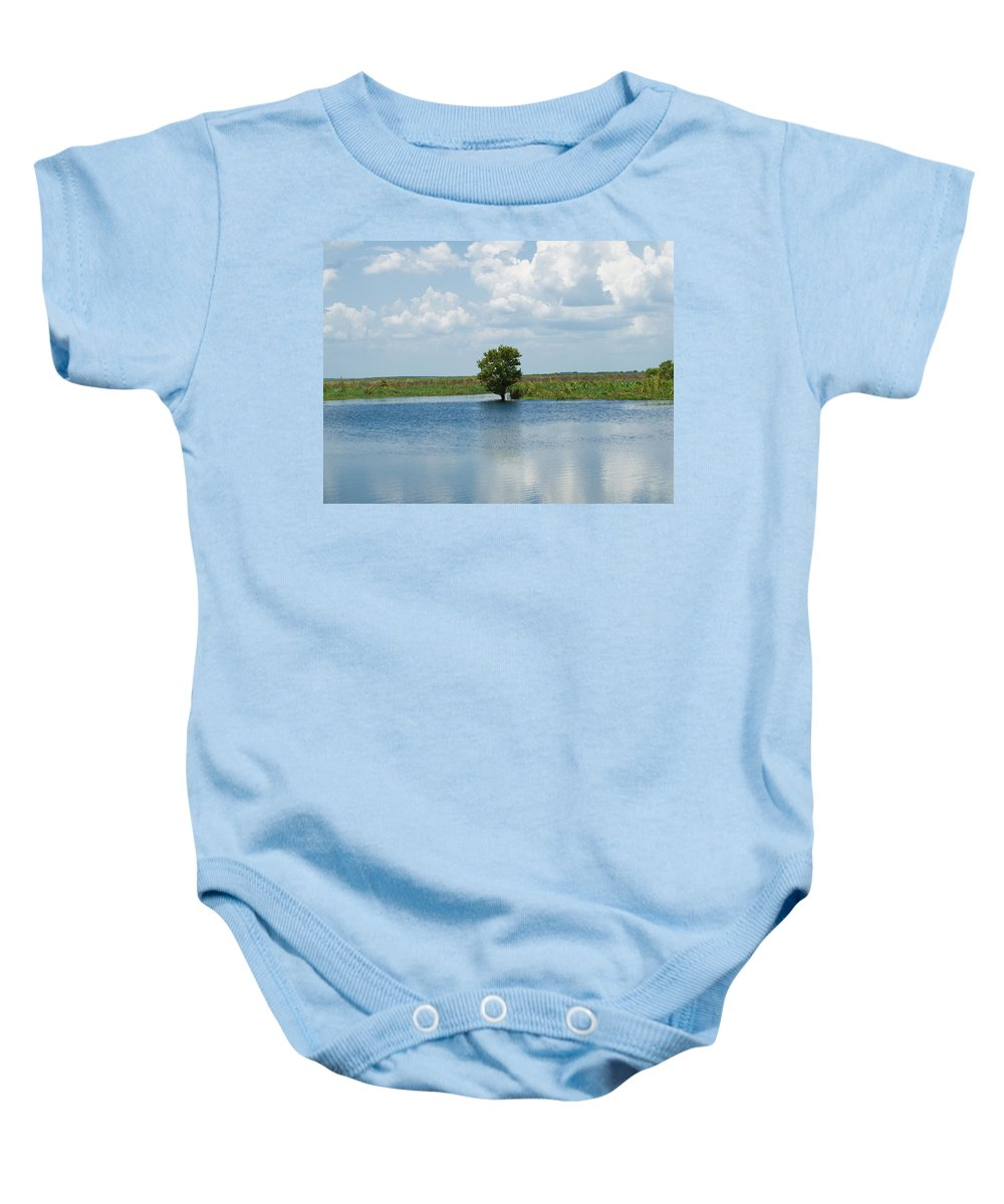Florida; River; St; Johns; Saint; John; Flow; Flows; North; South Direction; Flowing; Current; Backw Baby Onesie featuring the photograph Florida River Backwater by Allan Hughes