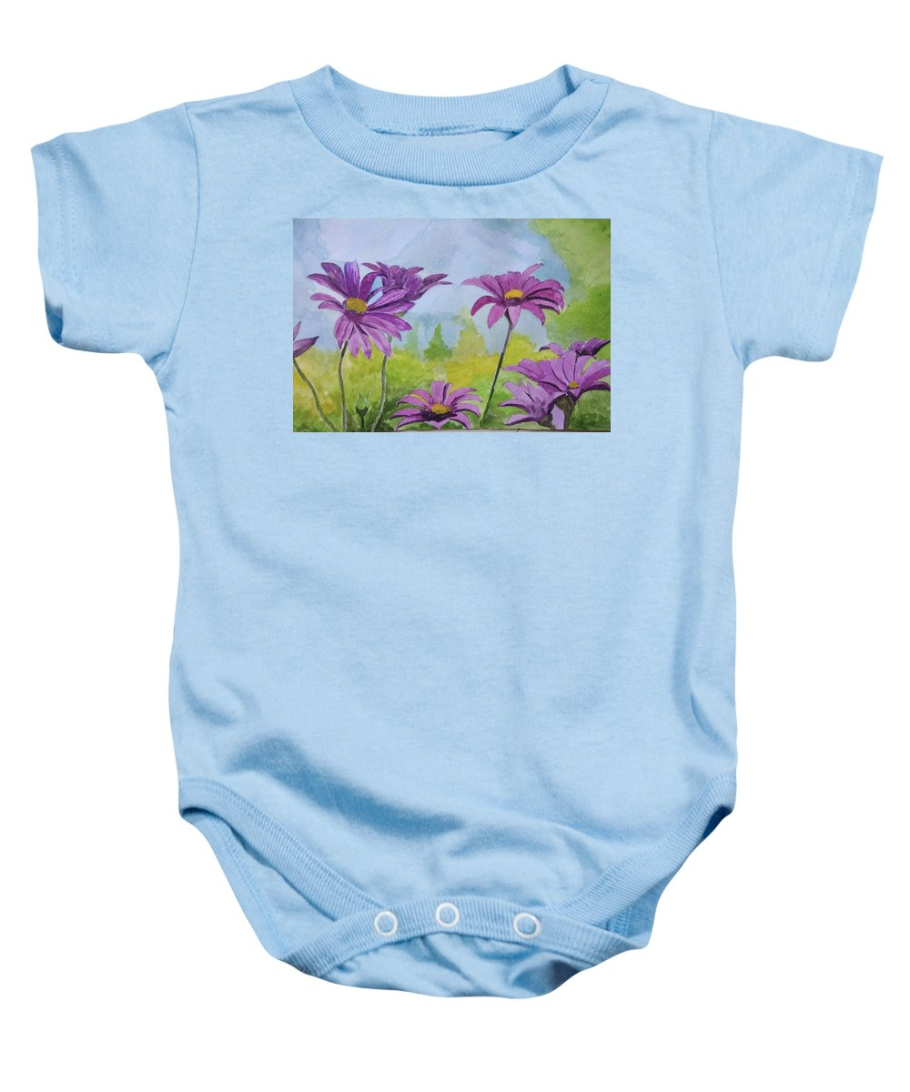 Landscape Watercolor Paper Flower Nature Baby Onesie featuring the painting Flowing Florence by Debjyoti Chakraborty