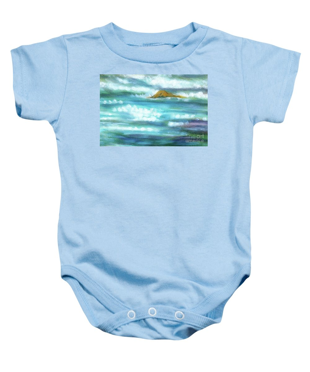 Background Baby Onesie featuring the painting Flowing River With Briliant Sun Reflections And Stone, Closeup Painting Detail. by Jozef Klopacka