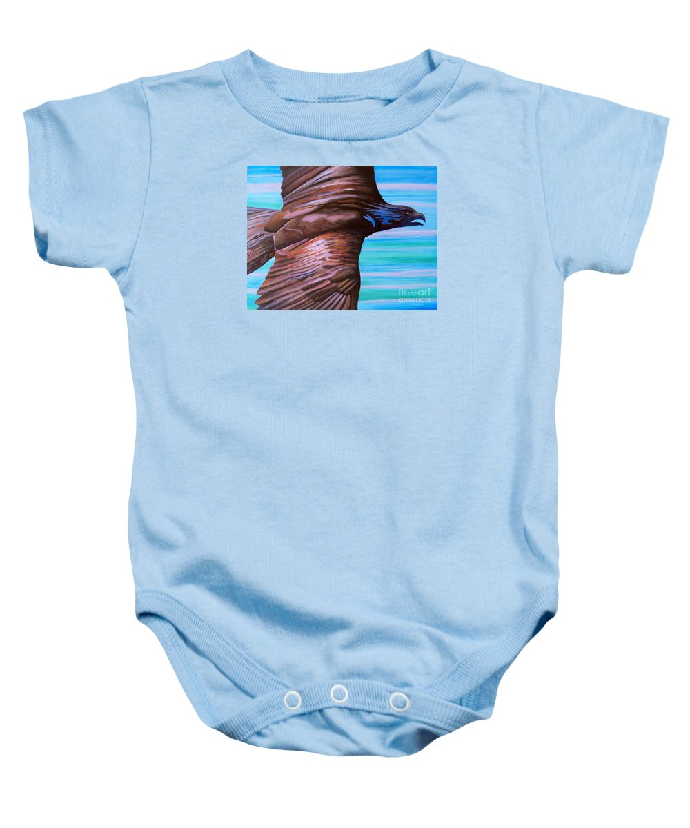 Eagle Baby Onesie featuring the painting Fly Like An Eagle by Brian Commerford