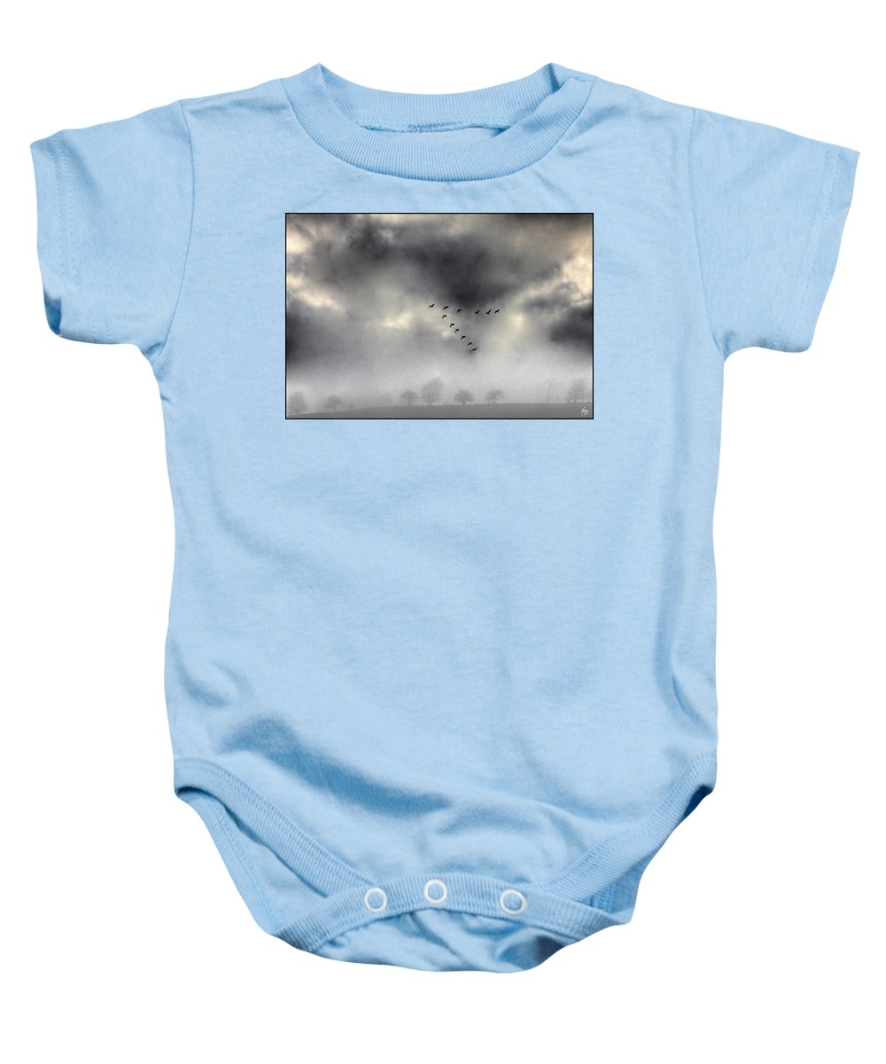 Geese Baby Onesie featuring the photograph Flying Into A Gathering Storm by Wayne King