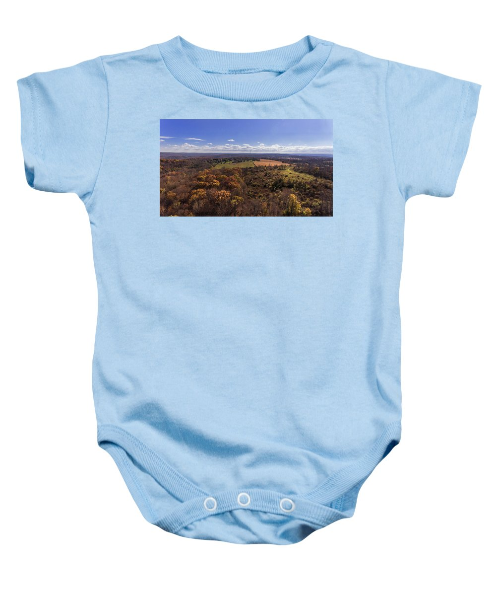 Drone Baby Onesie featuring the photograph Flying Over New Milford by Andrea Swiedler