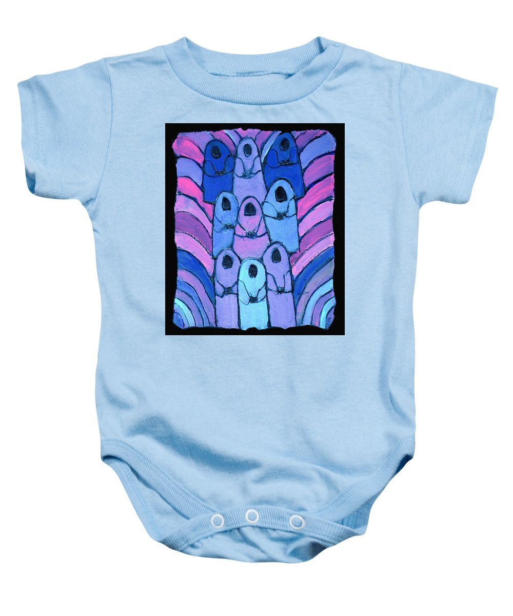 Abstract Baby Onesie featuring the painting Following In The Footsteps by Wayne Potrafka