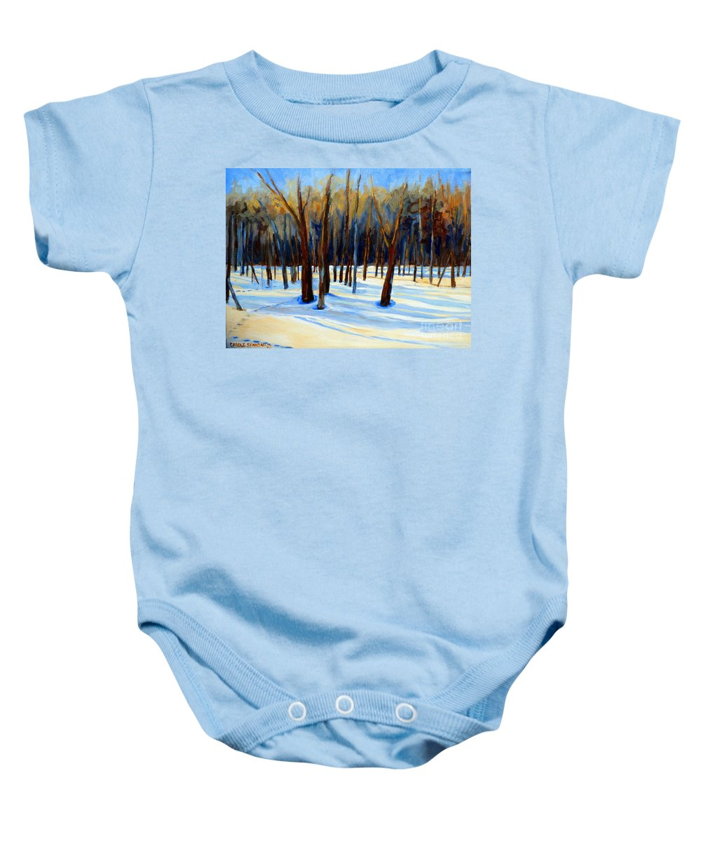 Beautiful Winter Baby Onesie featuring the painting Footprints by Carole Spandau