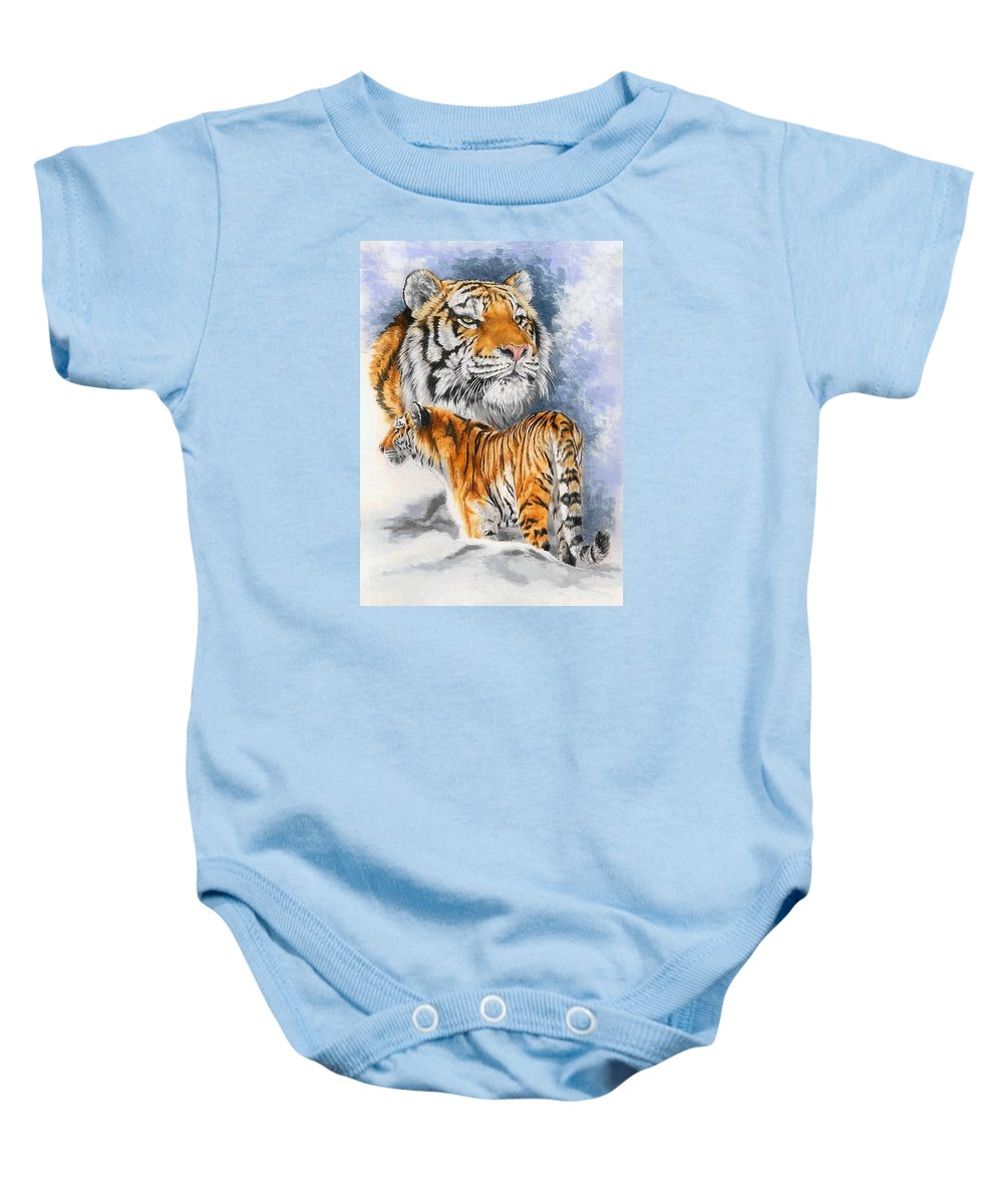 Big Cats Baby Onesie featuring the mixed media Forceful by Barbara Keith