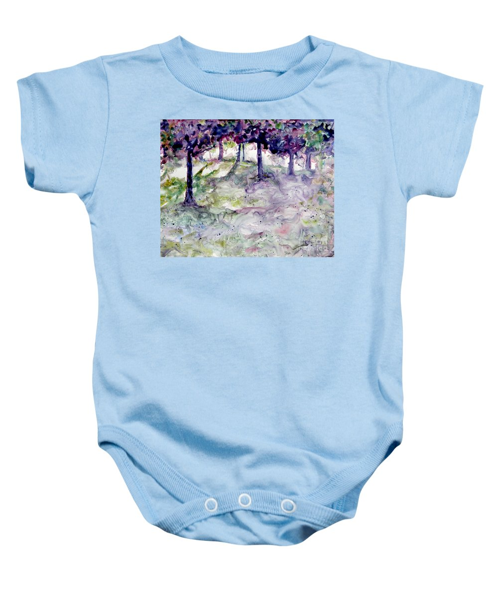 Fastasy Baby Onesie featuring the painting Forest Fantasy by Jan Bennicoff