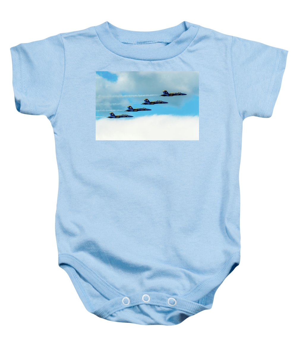 Aircraft Baby Onesie featuring the pyrography Formation Of Blue Angels by Javier Flores