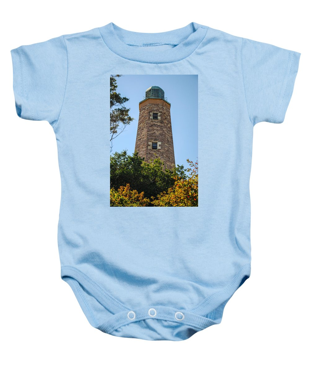 Fort Story Baby Onesie featuring the photograph Fort Story Light House by George Fredericks