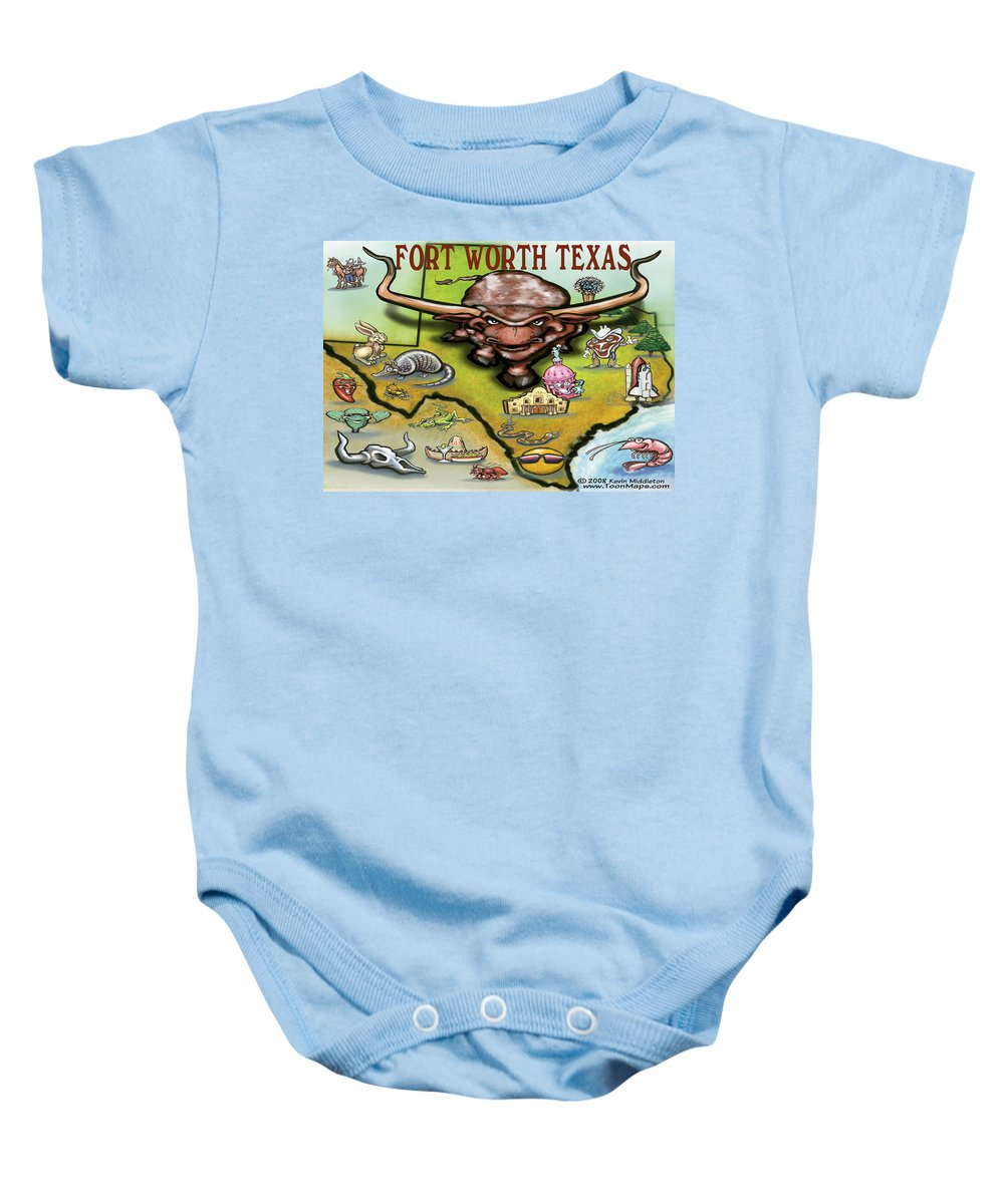 Fort Worth Baby Onesie featuring the greeting card Fort Worth Texas Cartoon Map by Kevin Middleton