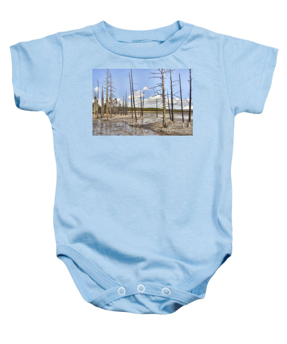 Yellowstone Baby Onesie featuring the photograph Fountain Paint Pots Lodgepole Pines - Yellowstone by Daniel Hagerman
