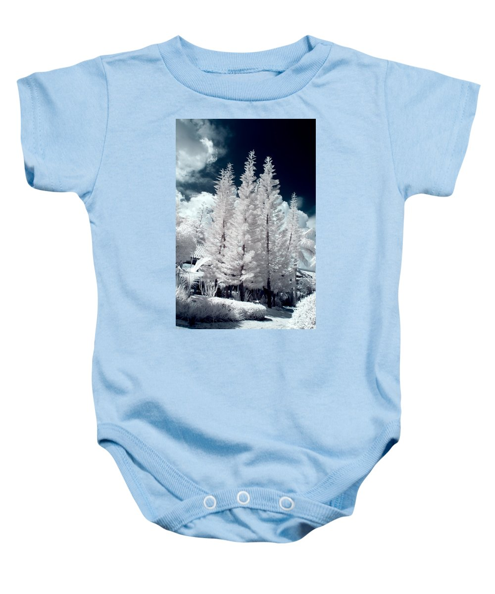 3scape Photos Baby Onesie featuring the photograph Four Tropical Pines Infrared by Adam Romanowicz