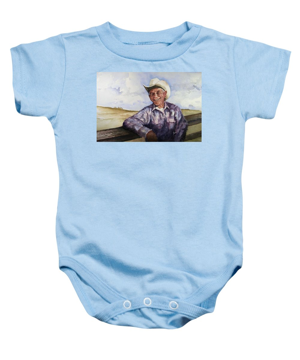 Cowboy Smile Friendly Happy Texan Texas Music Fiddler Baby Onesie featuring the painting Frankie by Sam Sidders