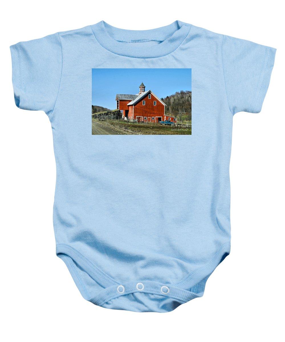 Barn Baby Onesie featuring the photograph Franklin Spring Barn by Deborah Benoit