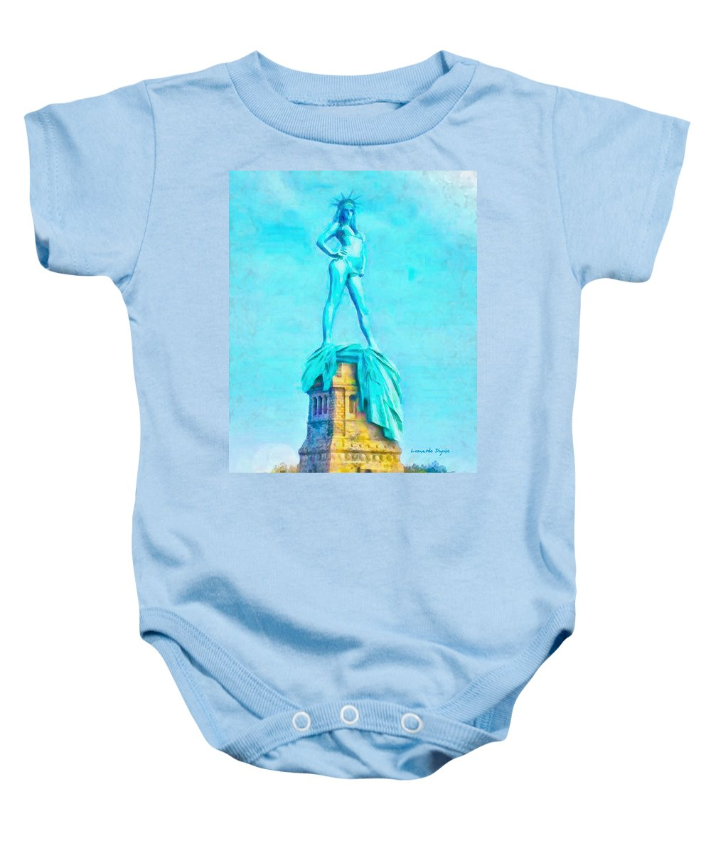 Free Baby Onesie featuring the digital art Free Liberty - Da by Leonardo Digenio