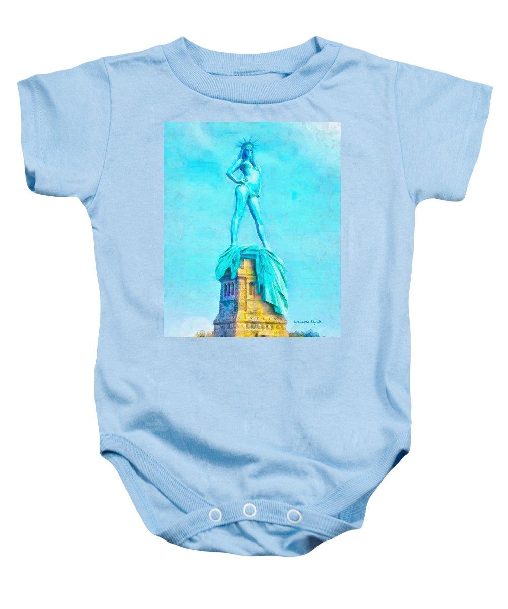 Free Baby Onesie featuring the painting Free Liberty - Pa by Leonardo Digenio