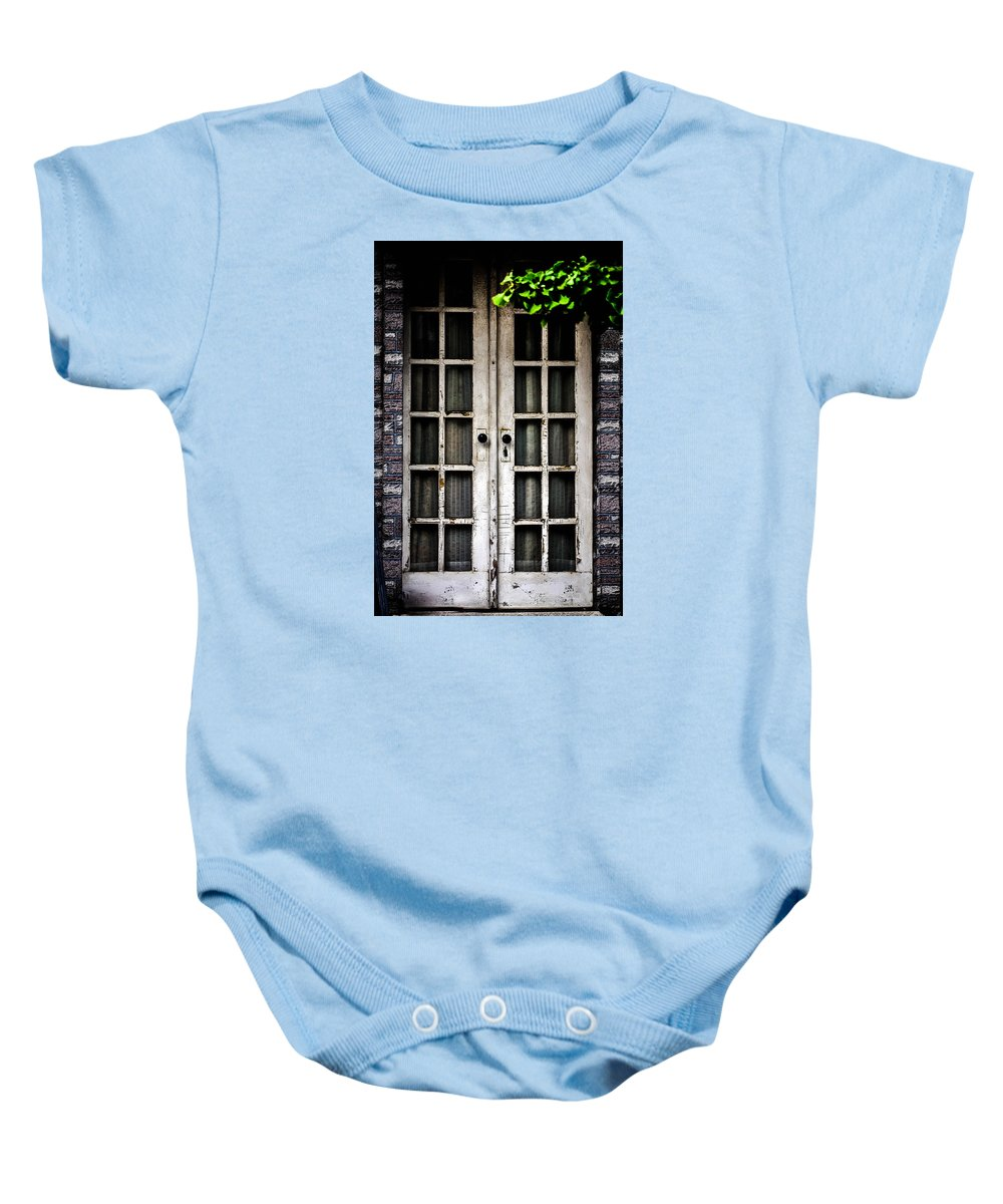 White Baby Onesie featuring the photograph French Doors by Terepka Dariusz