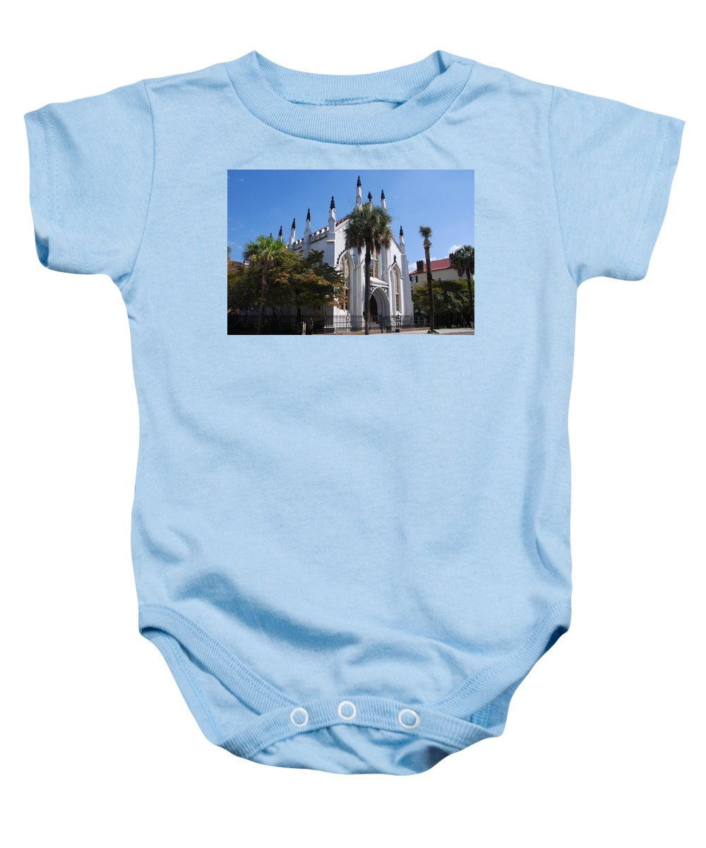 Photography Baby Onesie featuring the photograph French Huguenot Church In Charleston by Susanne Van Hulst