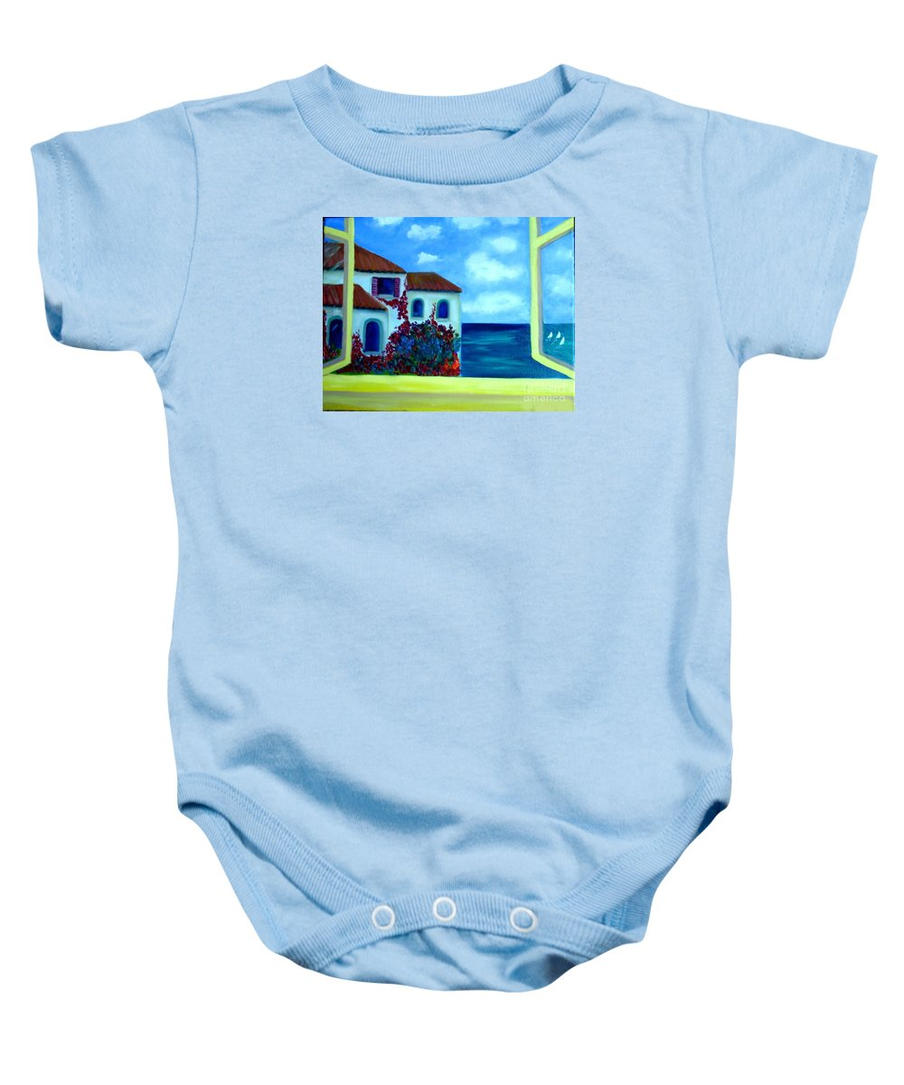 Seascape Baby Onesie featuring the painting Fresh Sea Air by Laurie Morgan