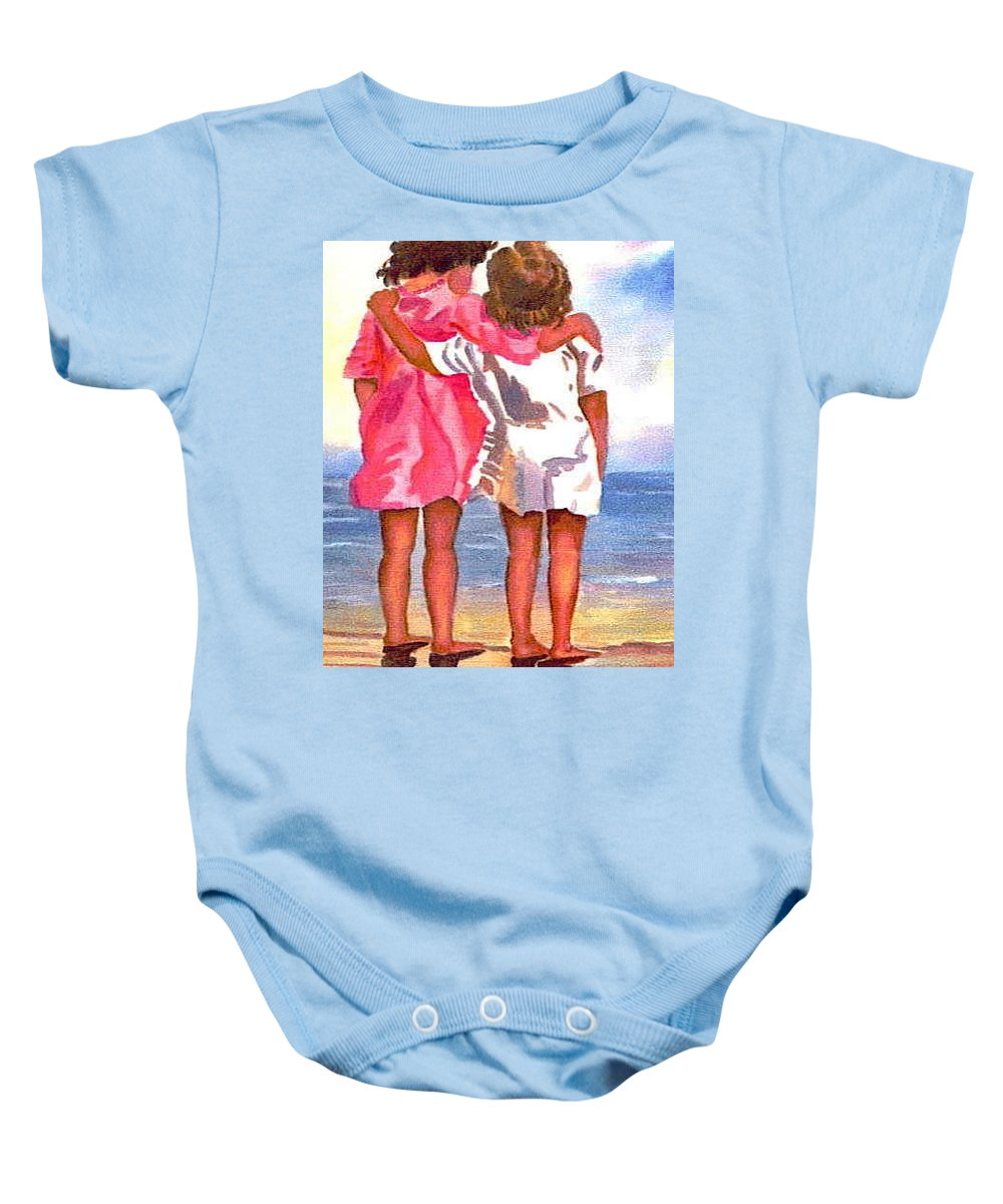 Decorators Baby Onesie featuring the painting Friends Forever by Shirley Weidenhamer
