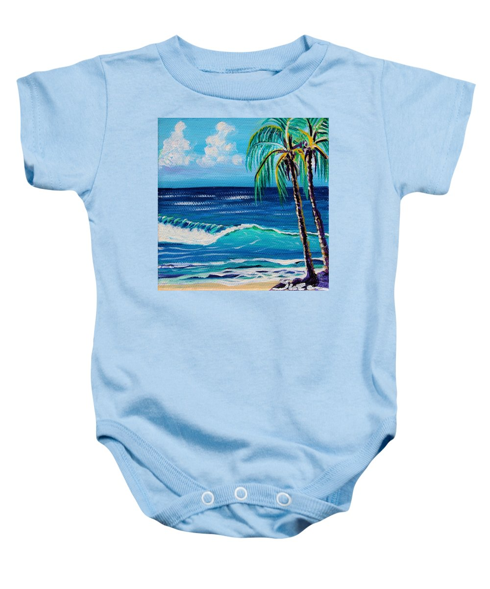 Palm Trees Baby Onesie featuring the painting Friends by Suzanne MacAdam